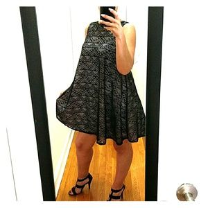NWT!!  BEAUTIFUL BLACK LACE FLARE MINI DRESS SZ LG