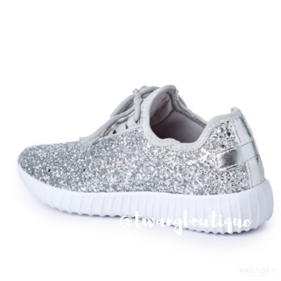 Silver Sparkly Nike Tennis Shoes