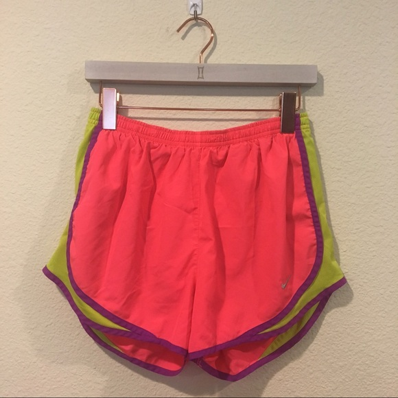 Nike Pants - Nike pink and green dry fit tempos workout shorts