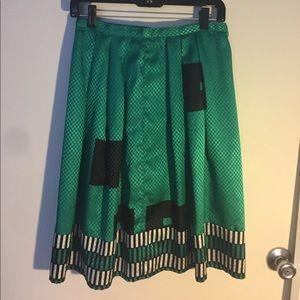 Dresses & Skirts - Vintage green geometric print silk/rayon skirt.