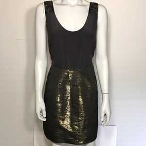 {j. crew} black and gold dress