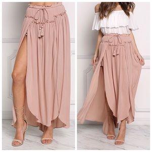 Dresses & Skirts - •LAST 2 Blush Ruched Double Slit Maxi Skirt (S,L)