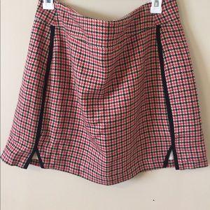 Maisom Jules Red Blue Houndstooth Plaid Skirt 12