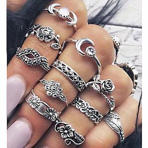 Jewelry - 11pcs vintage midi finger rings boho moon women