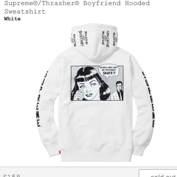 Supreme Thrasher Boyfriend Hoodie white dd22ca882b