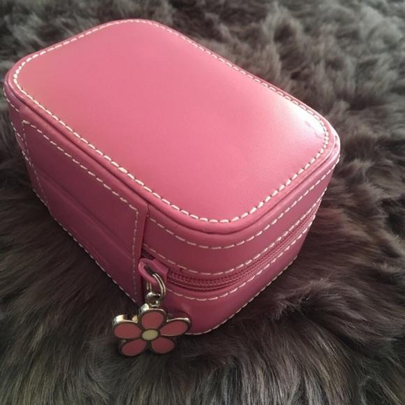 Fossil Handbags Pink Leather Travel Jewelry Box Poshmark