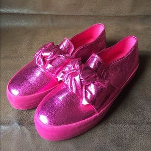 asos Shoes pink metallic Loafers sneakers Sz 9 bow