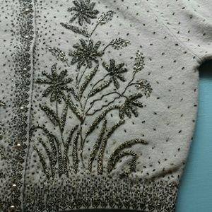 Vintage Flower Beaded Lambswool Angora Sweater