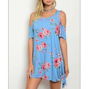Dresses & Skirts - Blue Floral Cold Shoulder Dress