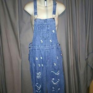 NWOT distressed, razor-back overalls