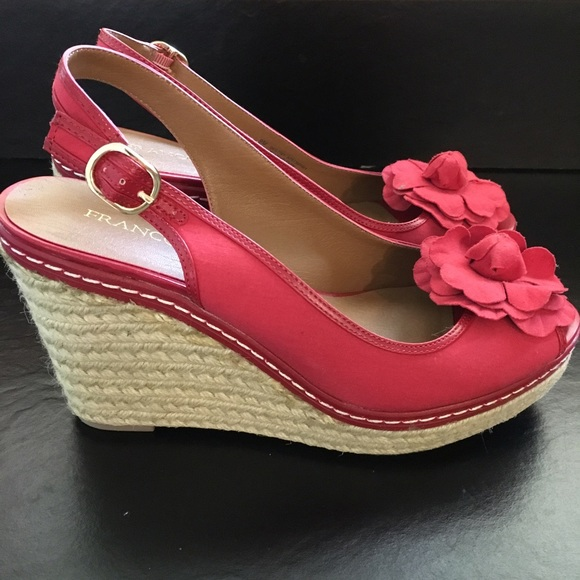 many fashionable good out x new images of Franco Sarto Red Wedge Espadrille Sandal