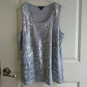 Silver Gray Sequins Muscle Tee Top