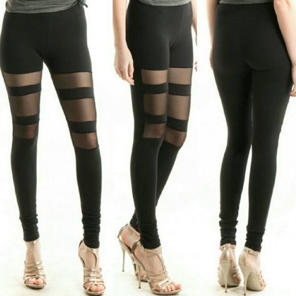 109c45489c3117 Pants | Cute Mesh Insert Cotton Leggings | Poshmark