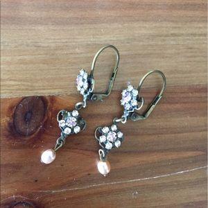 Jewelry - Dainty pink floral mini chandelier earrings