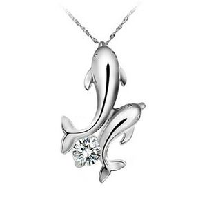 Jewelry - Women's double dolphin rhinestone necklace