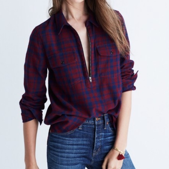 53 off madewell tops madewell flannel zip front popover for Zip front flannel shirt