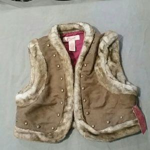 Candies crop vest furry with rivets NEW