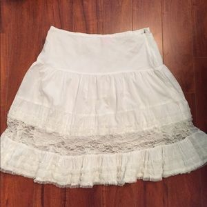 Cotton, lace and peal beads skirt