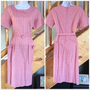 Vintage Pink Metallic Plaid Dress - Rockabilly