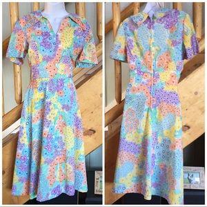 Vintage Bright Floral Dress - Novelty Print