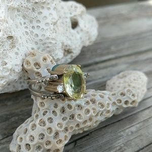 Jewelry - Stering Silver and Brass, Crystal Ring