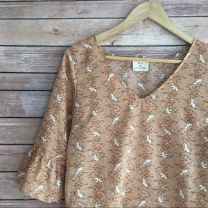 Urban Outfitters Pins And Needles Bird Print Top