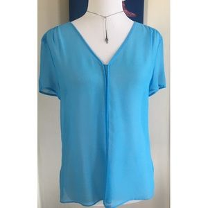 Chelsea28 Sheer Blue Short Sleeved Blouse