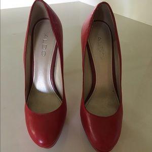 Red ladies heels leather