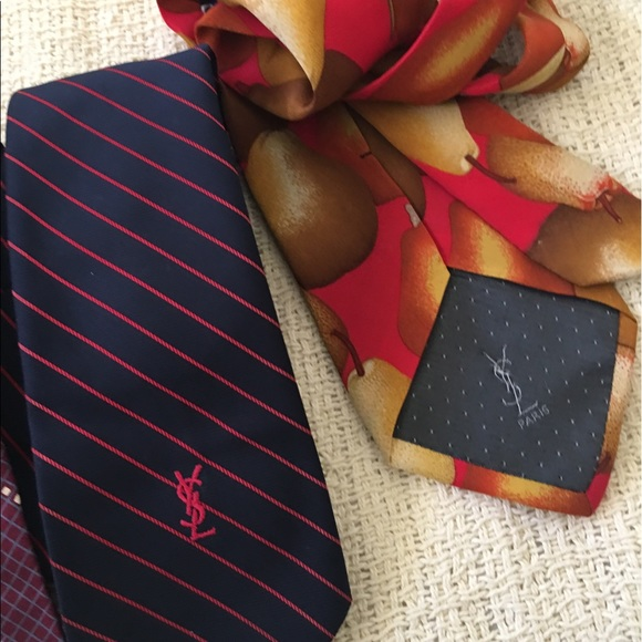 a12a6d4a4f55 Yves Saint Laurent Accessories | Ysl Ties With Logos On Back 1w Logo ...