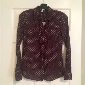 BCBGenration Button Up Polka Dot Top