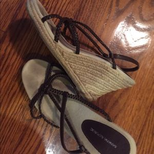 Banana Republic wedge heels brown strap sandal sz7