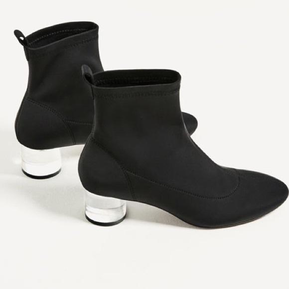 561da5f6eb4 Zara blk ankle boots w  metacrylate (clear) heel