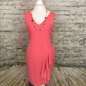 🍷❤️Coral Sleeveless Dress With Side Ruffle Plus