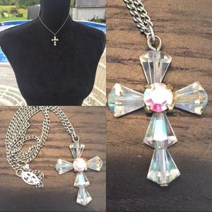 Vintage choker or Childs cross Crystal necklace