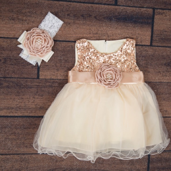 b7cbd0b45f Rose gold sequin and and tulle baby dress. M 5956faddbf6df58b7100d882