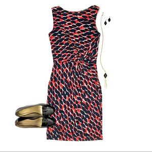 Cache Draped & Fitted Mid-Calf Print Dress