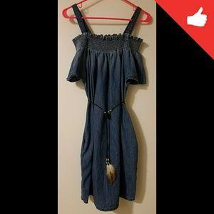 Off shoulder chambray dress