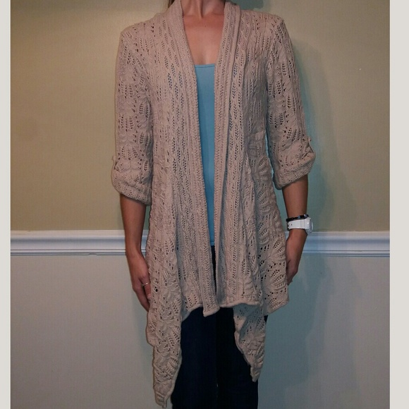 b551447cf620 Coldwater Creek Sweaters - Coldwater Creek 3 4 Sleeve Crochet Cardigan Wrap