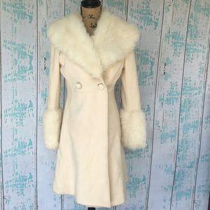 Heart Moon Star ivory wool peacoat w/faux fur