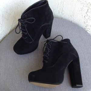 Shellys London Black Suede Heel Ankle Boots Sz 10