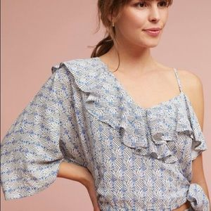 NWT Maeve Ruffled Wrap Top Anthropologie Large L