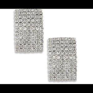 clear pave crystal rectangular clip on earrings