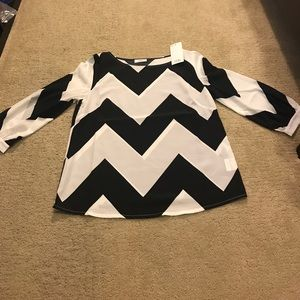 Sheer chevron black and white blouse from Tobi.