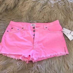 """NWT HUDSON hot pink """"Tori"""" denim shorts"""