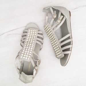 Gray Studded Sandals