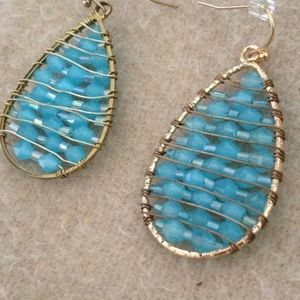 Jewelry - Aqua and Gold Beaded Earrings