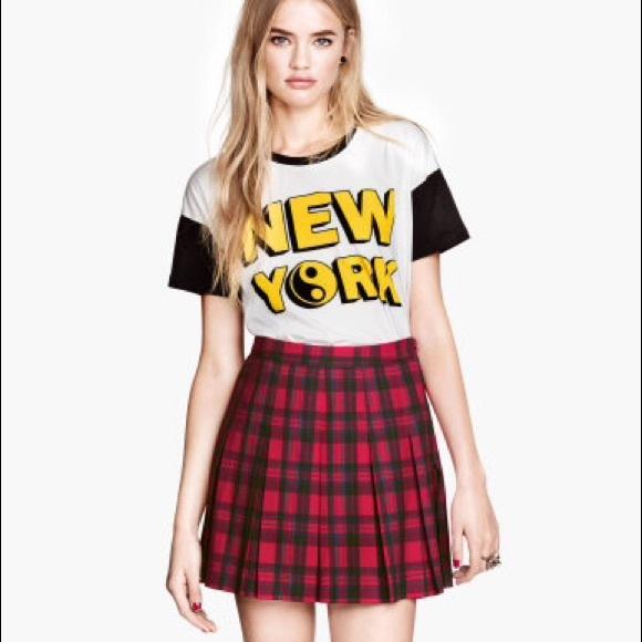 62e0141e5cc4b H M Dresses   Skirts - Pleated plaid skirt NWOT