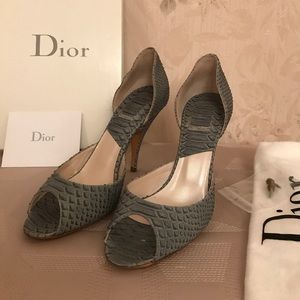 NWT Christian Dior leather peep- toes heels