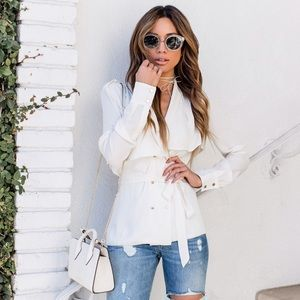 L'Academie Ivory Silk Trench Blouse