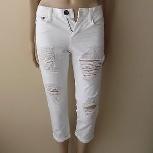 Denim - Classic White Distressed Cropped Jeans